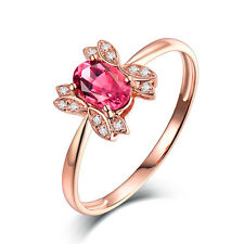 Genuine Natural Tourmaline DIAMOND ENGAGEMENT Wedding RING in 14K ROSE GOLD