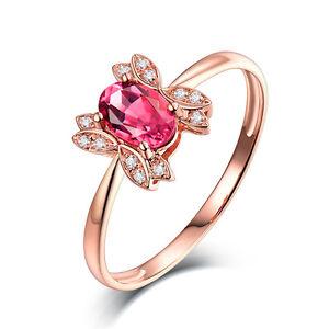 Genuine Natural Tourmaline DIAMOND ENGAGEMENT Wedding RING in 14K ROSE GOLD