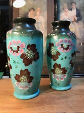Pair of Hand Decorated Antique English Victorian Glass Vases 27cm High