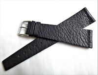 Vintage 22mm New Old Stock High quality Genuine Soft Black Leather Watch Straps