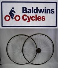 PAIR 700c Narrow Q/R Wheels YELLOW 700c x 23c Lugano Tyres & 7 Speed FreeWheel