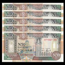 Lot 5 PCS, Somalia 50 Shillings, 1991, P-R2, UNC