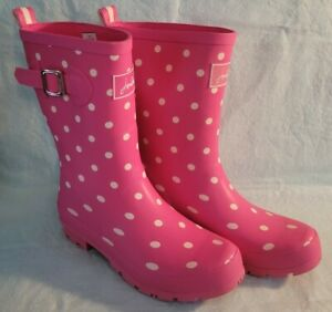 Joules Molly Pink Polka Dots Mid Height Welly Rain Boots Women's Size 8 *USED*
