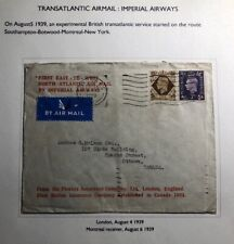 1939 London England First East To West Flight Cover Ffc To Ottawa Canada