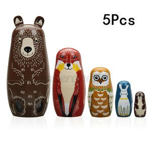 5PCS Russian Hand Painted Stacking Doll Matryoshka Wooden Nesting Dolls Gift