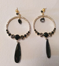 Formal Round Crystal  Earring Featuring Black Crystal Drop Stone