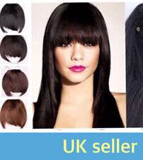 UK Human Hair Clip On Clip InBang Fringe Extension Straight #6 Honey Brown