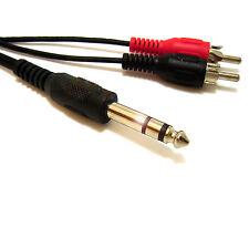 5M 6.35mm Jack Stereo Cavo Y AUDIO STEREO a Due Fono RCA DJ Mixer stereo di casa