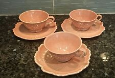 Lot of 3 Woodfield Steubenville CORAL Leaf Pattern Coffee Tea Cup & Saucers