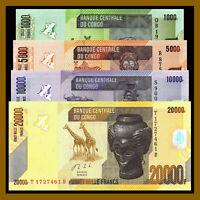 CONGO set 4 Pcs 1000 5000 10000  20000 Francs 2013  P-101b,P102b,P103b,P104b UNC