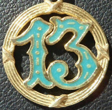 Luck Pendant, Gold 18K, 40S, 2.9 Gr Vintage ' Lucky Number 13 ' Charm /