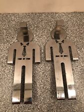 Vintage Mcm Man with Tie Male Over the Door Chrome Hanger Lot of Two