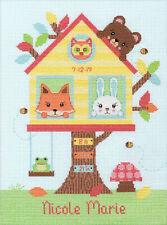 Cross Stitch Kit ~ Dimensions Tree House Birth Record w/Cute Animals #70-75679