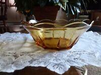 Vintage Honey Gold Amber Glass Bowl Swedish Modern Dessert Dish Serving