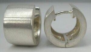 "Sterling Silver Small Huggie Earrings 10mm Wide Brushed Finish Hinged Hoop 1/2"""
