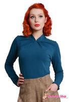 Miss Candyfloss Top Tasha-Cat Langarmshirt für 40er /50er Rockabella oder Swing