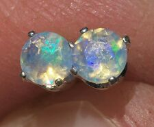 4mm SOLID ETHIOPIAN WELO OPAL Blue Green FIRE .925 Sterling Silver Stud Earrings