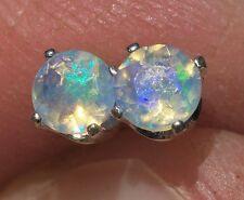 4mm SOLID ETHIOPIAN WELO OPAL Blue Green FIRE .925 Sterling Silver Stud Earrings