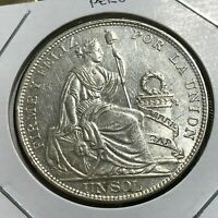 1915 PERU SILVER ONE SOL NEAR UNCIRCULATED CROWN COIN