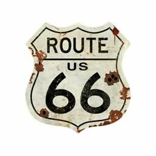 "ROUTE 66 ROAD SHIELD SHAPE HUGE 42"" HEAVY DUTY USA MADE METAL ADVERTISING SIGN"