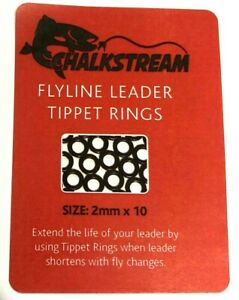 """""""CHALKSTREAM"""" fly line leader TIPPET RINGS 2mm, 2.5mm & 3.7mm.1st class post"""