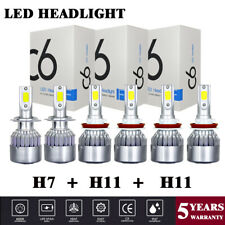 6x H7+H11+H11 COB LED Headlight Hi-Low Bulbs Fog Light For Ford Fusion 2006-2018