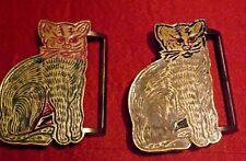 2 Nice Different Colored Sitting Cat Belt Buckle Made in India R&R Imports