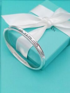 Tiffany & Co Sterling Silver 1837 Oval Bangle Bracelet  Medium/ Genuine