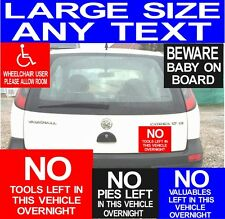 PERSONALISED CAR/ VAN STICKER ANY TEXT, DISABLED BADGE, BABY ON BOARD, NO TOOLS