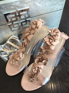 "Tory Burch sz 6.5 Nude Beige 2"" Block Heel Floral Ankle Strap PVC sandal"