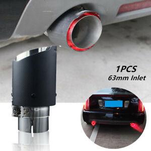 63mm Inlet Red LED Light Car Muffler Matte Carbon Fiber Exhaust Tip 89mm outlet