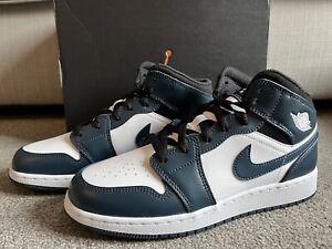 Nike Air Jordan 1 Mid GS Armory Navy White Black UK 6 US 7Y EU 40 BNIB