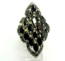 """Long Sapphires Marcasite Sterling Silver 925 Ring 17g 11"""" CC932"""