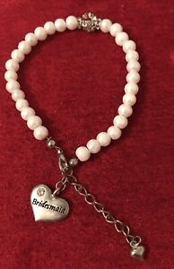 Bridesmaid Wedding Charm Bracelet  Faux Silver & pearl