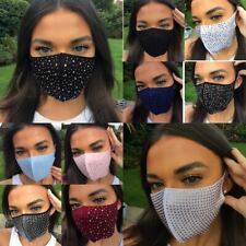 3 FOR 2! Womens  Ladies Diamante crystal glitter Face Mask Washable Reusable