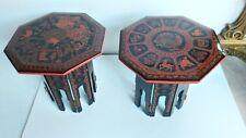 Coppia di Tavolini in Lacca Birmana Vintage Burmese Lacquered Table