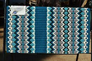 "Mayatex Branding Iron Show Saddle Blanket Pad 38""x 34""-Ocean Blue/Soft Turquoise"