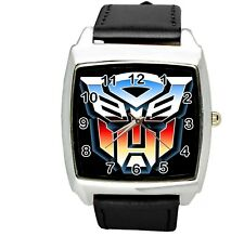 TRANSFORMERS AUTOBOT HERO BLACK LEATHER FILM MOVIE STEEL COMICS SQUARE WATCH E2