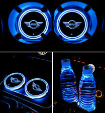 2pc Colorful Led Car Cup Holder Bottom Pad Mat Auto Atmosphere Fit For BMW MINI