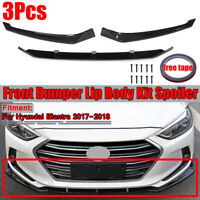 Black Front Bumper Spoiler Lip Cover For Hyundai Elantra 2017 2018 ABS