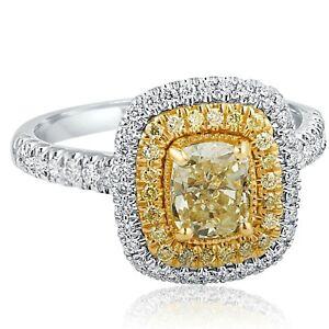 Cushion Cut 1.77 Carat Yellow Diamond Engagement Double Halo Ring 18k White Gold