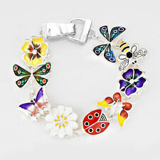 Dragonfly Bracelet Magnetic Clasp Metal Link Butterfly Lady Bug Flower Bee