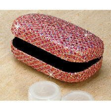 Pink Glitter Contact Lens Hard CASE With Mirror NEW! Deluxe Lipstick Case Holder