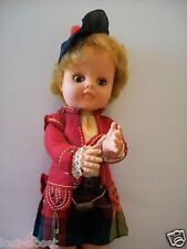 Vintage 50s Pedigree Soft Vinyl Scottish Laddie Kilt Tartan Collectable Doll 12"