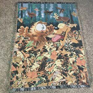 Vintage Garfield & Odie Fall Leaves Throw Blanket Fringed Edges 57x41 in