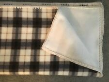 "Large, Light-Weight Fleece Afghan, Home Crafted, Plaid, 50"" x 56"""