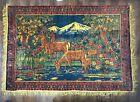 Vintage velvet carpet USSR deers mountain Soviet Blanket сoverlet nature textile