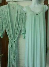 Company Ellen Tracy Sz L Nightgown & Robe Set Mint Green Polka Dots Roses EUC