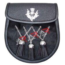 Black Day Fur Sporran with 3 Fur Tassels Double Chain Kilt Belt Bagpipe Fly