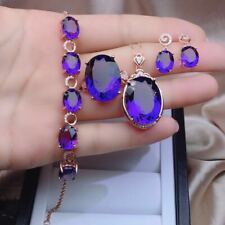 Certified Natural Amethyst Quartz 925 Sliver Ring Necklace Pendant Earrings Set
